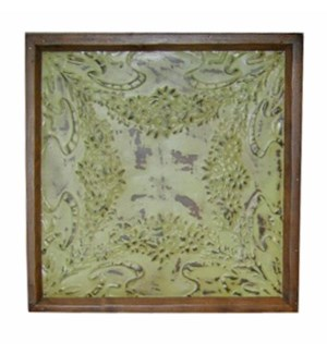 """Iron Ceiling Panel in Green, Replica, With Frame - 24x24 inches"""