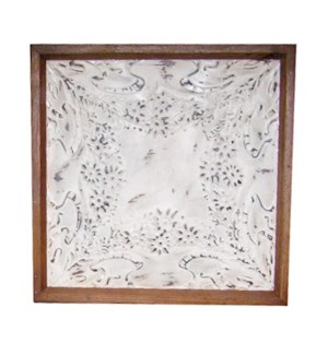"""Iron Ceiling Panel in White, Replica, With Frame - 24x24 inches"""