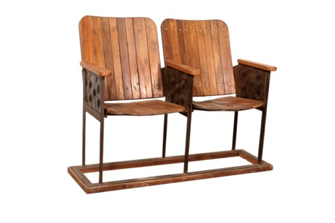 Antique Double Theatre Seats, approx size 45x15x35 in
