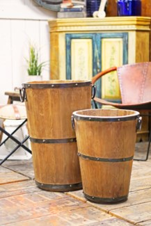 Antique Wooden Wine Barrel, 19x19x17 inches