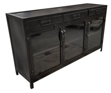 Industrial Iron Cabinet, black finish 59.5Lx18.5Wx33 inch High