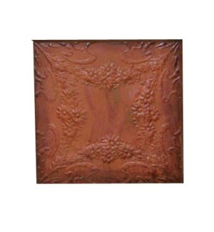 """Antique Iron Ceiling Panel, Rust 24x24 inches"""