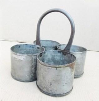 Antique 4 Zinc Pot 8x8x8 inches