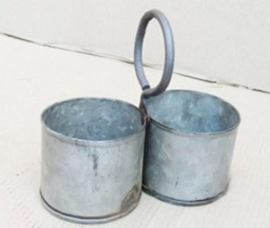 Antique 2 Zinc Pot Service 8x4x7.5 inches