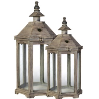 S/2 Graca Polygon Temple Garden Lanterns L:15X13X31 S:11.5X10.5X23inch.  Wood Glass (Must Ship on Pa