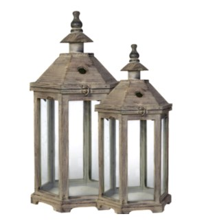 S/2 Polygon Temple Grdn Lntrs L:15X13X31 S:11.5X10.5X23in  Wd/Gls (Ship Pallet) On Sale! 25 prct off