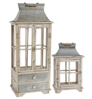 S/2 Evelyn Enclosed Lantern Set with Handle & Draw *Last Chance!