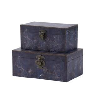 S/2 Decorative Box, 30% Pu,70% Mdf, L:11.4x7.1x4.9,S:9.4x5.1x4.5
