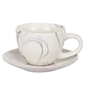 S/2 Cup And Saucer, Stoneware, L:4.7x3.5x2.6,S:5.5x5.5x0.8  On Sale 25 percent off original pric