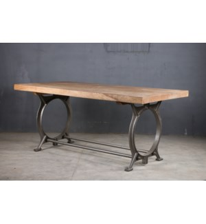 Cybil Industrial Iron Dining Table, 71x35.5x30, Mangowood/Cast Iron