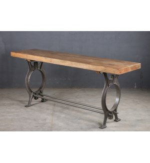 Alessa Industrial Console Table, 71x19.5x30, Mangowood/Cast Iron,
