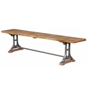 Dahlia Industrial Bench, 84x16x18, Mangowood/Cast Iron