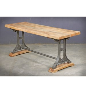 Cheryl Industrial Bench, 47x16x18, Acacia Wood/Cast Iron