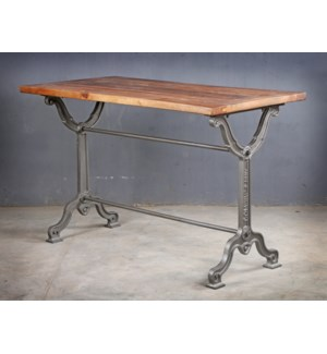 Kauffman Industrial Dining Table, 47x24x30, Acacia Wood/Cast Iron