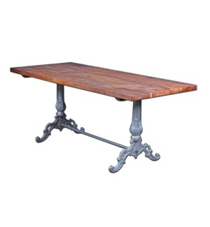 Garland Industrial Dining Table, 71x31x30, Acacia Wood/Cast Iron