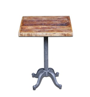 Mason Industrial Table, 23.5x23.5x30, Mangowood/Cast Iron