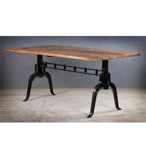 Laura Industrial Table, 70x35x30, Mangowood/Cast Iron