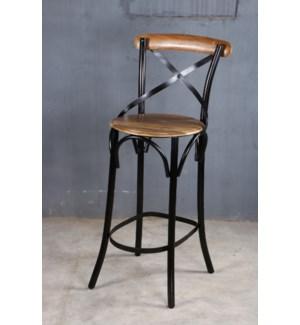 Samuel Industrial Chair, 20x20x43, Mangowood/Cast Iron