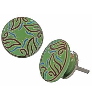 """""""Leaf Circlular Knob, Green"""""""