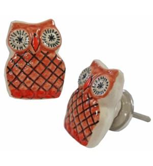 """Owl Knob, Brn/Orange"""