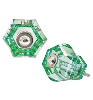 Glass Honeycomb Knob Green