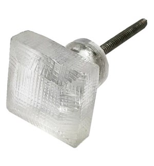 Etched Square Glass Knob