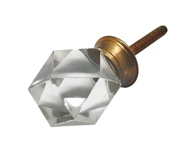 Diamond Shaped Point Cut Glass Knob