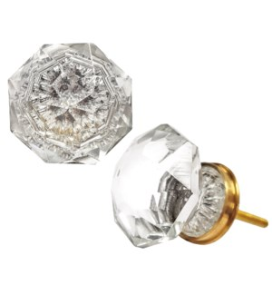 Agatha Multi Facetted Knob, Clear Glass, Large,1.5x1.75 in*ETA Summer 2019*