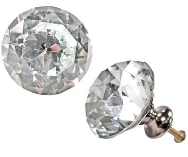Princess Diamond Knob, White Glass, Large, 1.5x1.5 in*ETA Summer 2019*