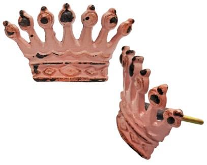 Crown Knob, Pink, Cast Iron, Large, 2x3.5x1.5 in*ETA Summer 2019*