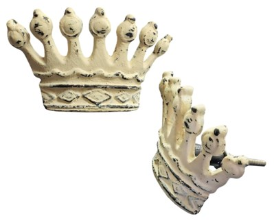 Crown Knob, White, Cast Iron, Large, 2x3.5x1.5 in*ETA Summer 2019*