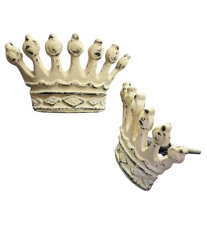 """Crown Knob,Wht,Cast Iron,L"""