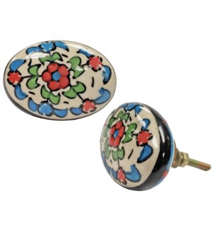 Bette Oval Floral Knob, Ceramic, 1.5x2x1 in*ETA Summer 2019*