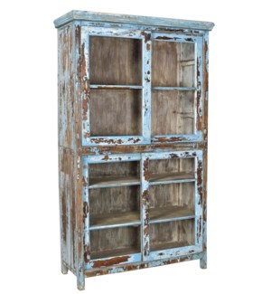 RM-33567 - Vintage Multi-Shelf Cabinet Distressed Blue, 49x18x85 Inch On Sale 25% off