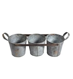 Iron 3 Pot Flower/herb Planter