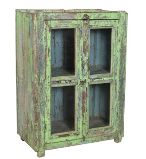 RM-34129 Vintage Cabinet,Teak wood, Green 28x14x38 inches