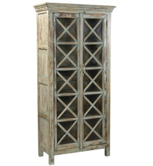 RS-41485 Vintage Replica Cabinet,Mango Wood, Lt. Green 33x15x68 inches