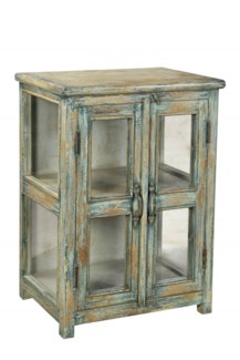 RS-41374 Vintage Side Table,Teak wood, Green 22x16x31 inches