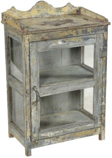 RM-34681 Vintage Cabinet,Teak wood, Cream 20x12x30 inches