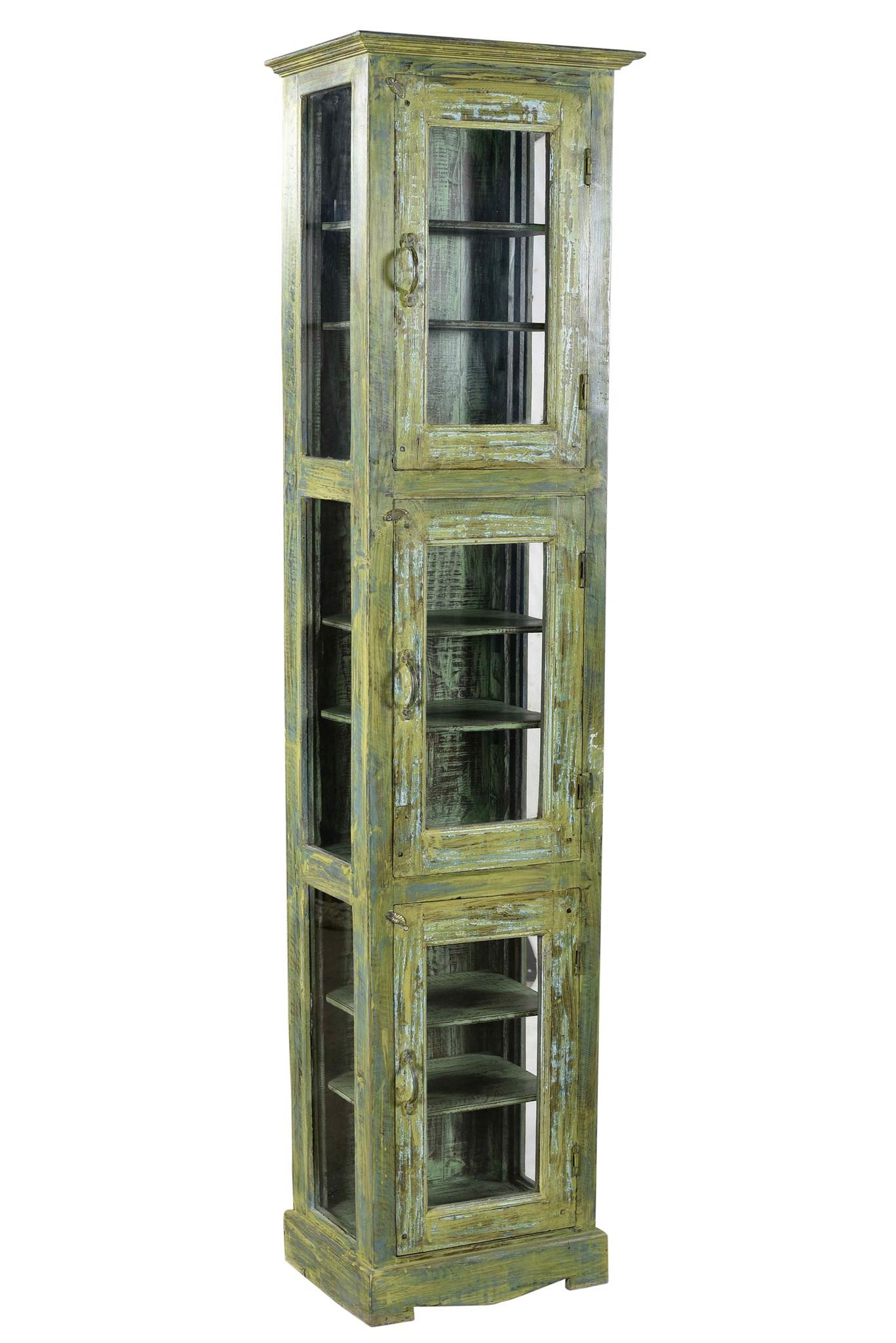 RM 33869 Vintage Tall Cabinet,Teak Wood, Green 19x11x75 ...