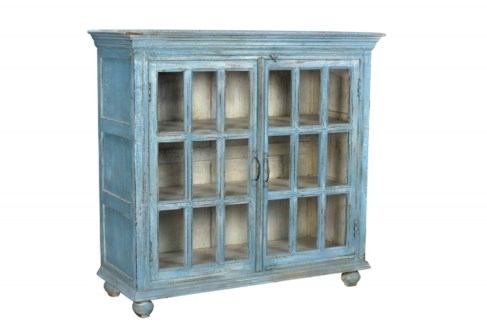 RS-40761 Vintage Replica Cabinet,Mango Wood, Blue 43x16x41 inches