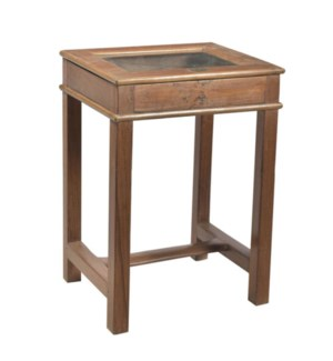 RS-42017 Vintage Side Table,Teak wood, Natural 22x18x30 inches
