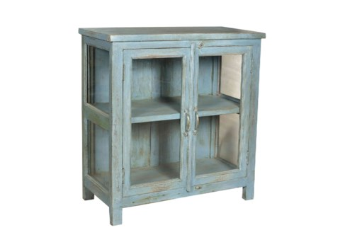 RS-40201 Vintage Replica Cabinet,Mango Wood, Lt. Blue 36x15x34 inches