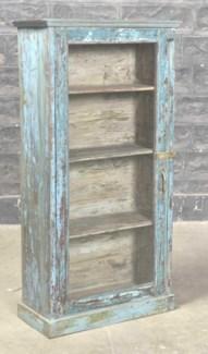 RM-34771 Vintage Bookcase,Teak wood, Blue 22x10x43 inches