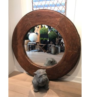 RM-34827 Vintage Mirror,Teak wood, Brown 53x3x53 inches On Sale 20% off
