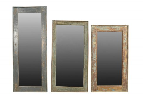 RS-40529 Vintage Mirror, Teak wood frame,Various, Dist. Approx. 18x2x44 inches