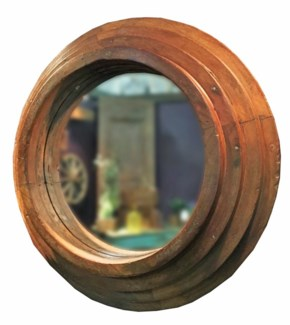 RM-34585 Vintage Mirror,Teak wood frame, 26x6x26 inches