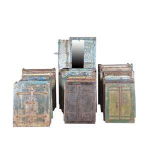 RM-20625 Vintage Window Mirrors, Various,Teak wood, 21x2x28 inches