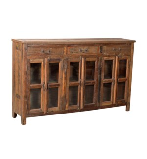 Wooden Sideboard 3 Drawers 3 Doors. Recycled wood. 72x16.5x44.5inch.