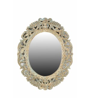 RS-39579 Vintage Replica Carved Mirror,Mango wood, White, 28x1x37 inches On Sale 30% off